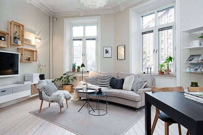 Clean and minimal Scandinavian living room