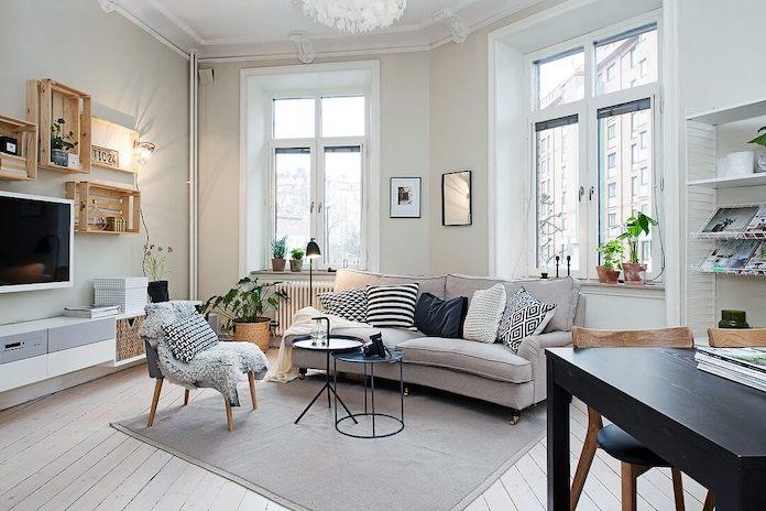 Clean and minimal Scandinavian living room