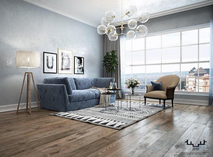 Grey and blue Scandinavian iving room