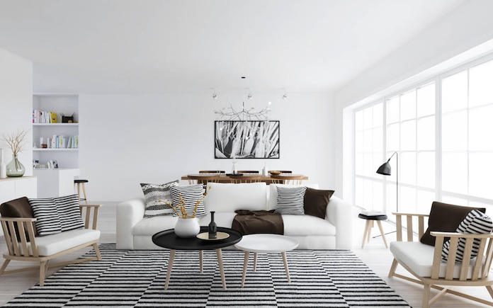 Scandinavian living room with wood