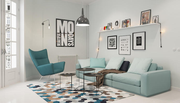 Scandinavian living room with blue accents