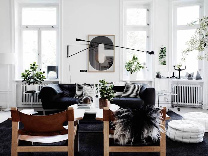 black fur scandinavian interior