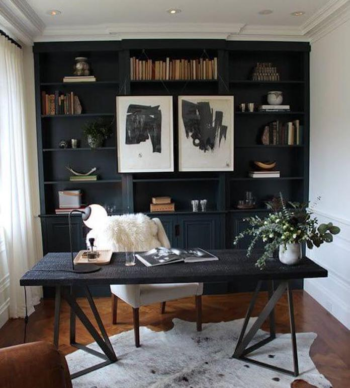 black scandinavian home office