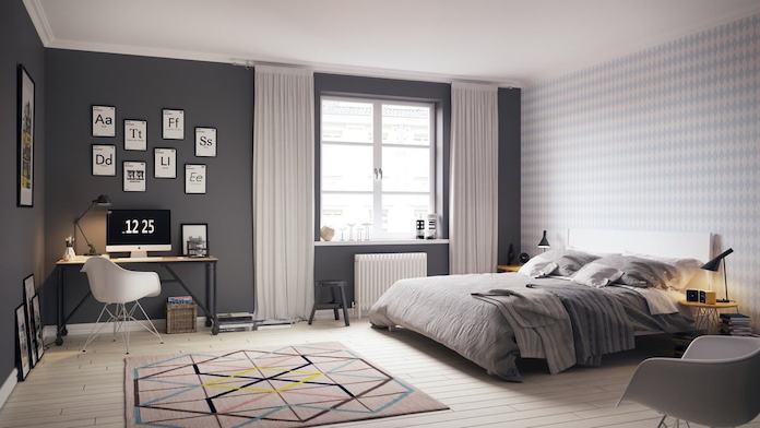 grey scandinavian bedroom design