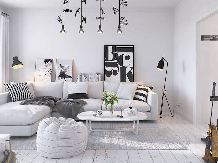 scandinavian bright monochrome living room