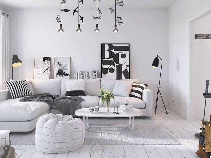 scandinavian bright monochrome living room