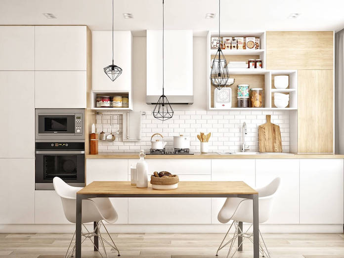 scandinavian kitchen white brick