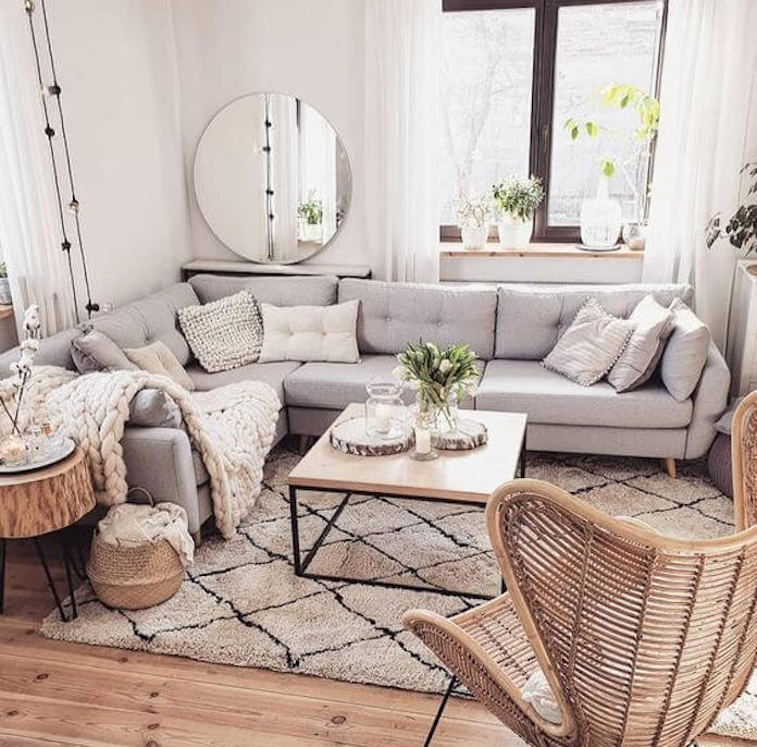 scandinavian living room with mirror