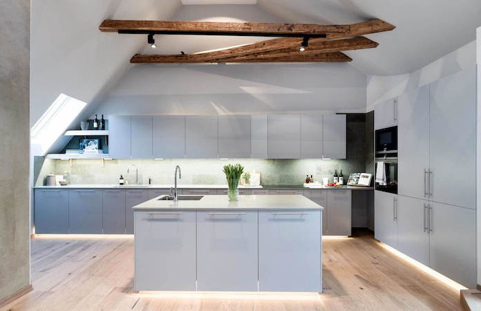 scandinavian wood attic