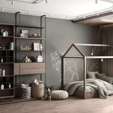 Модная комната в стиле лофт для подростков