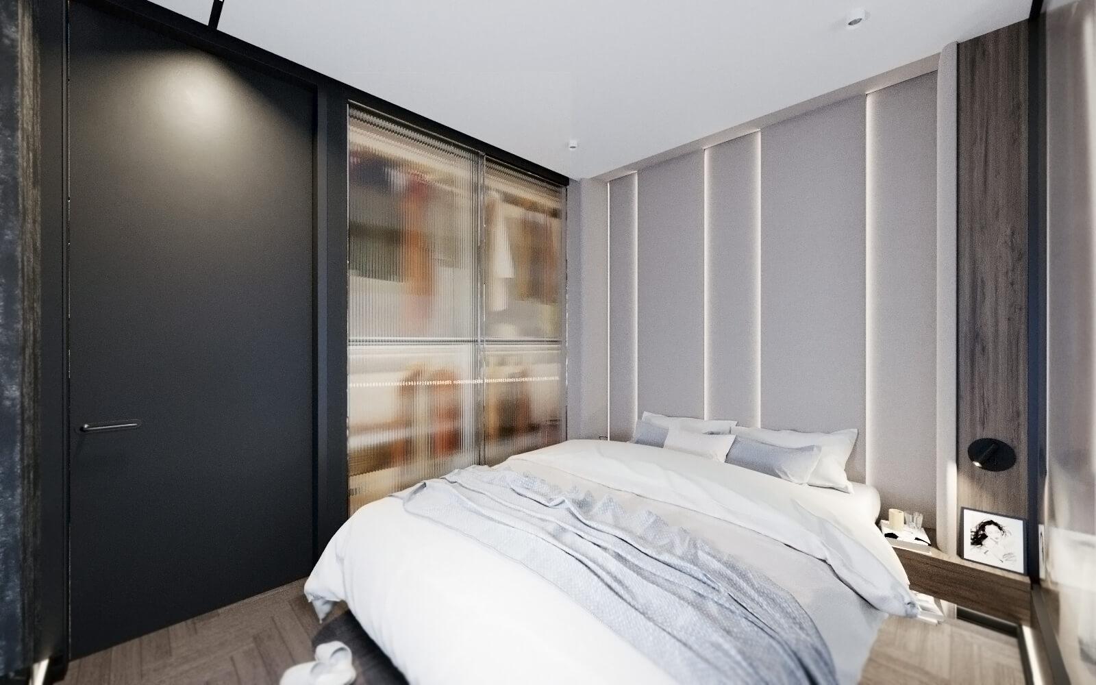 дизайн спальни в черном цвете