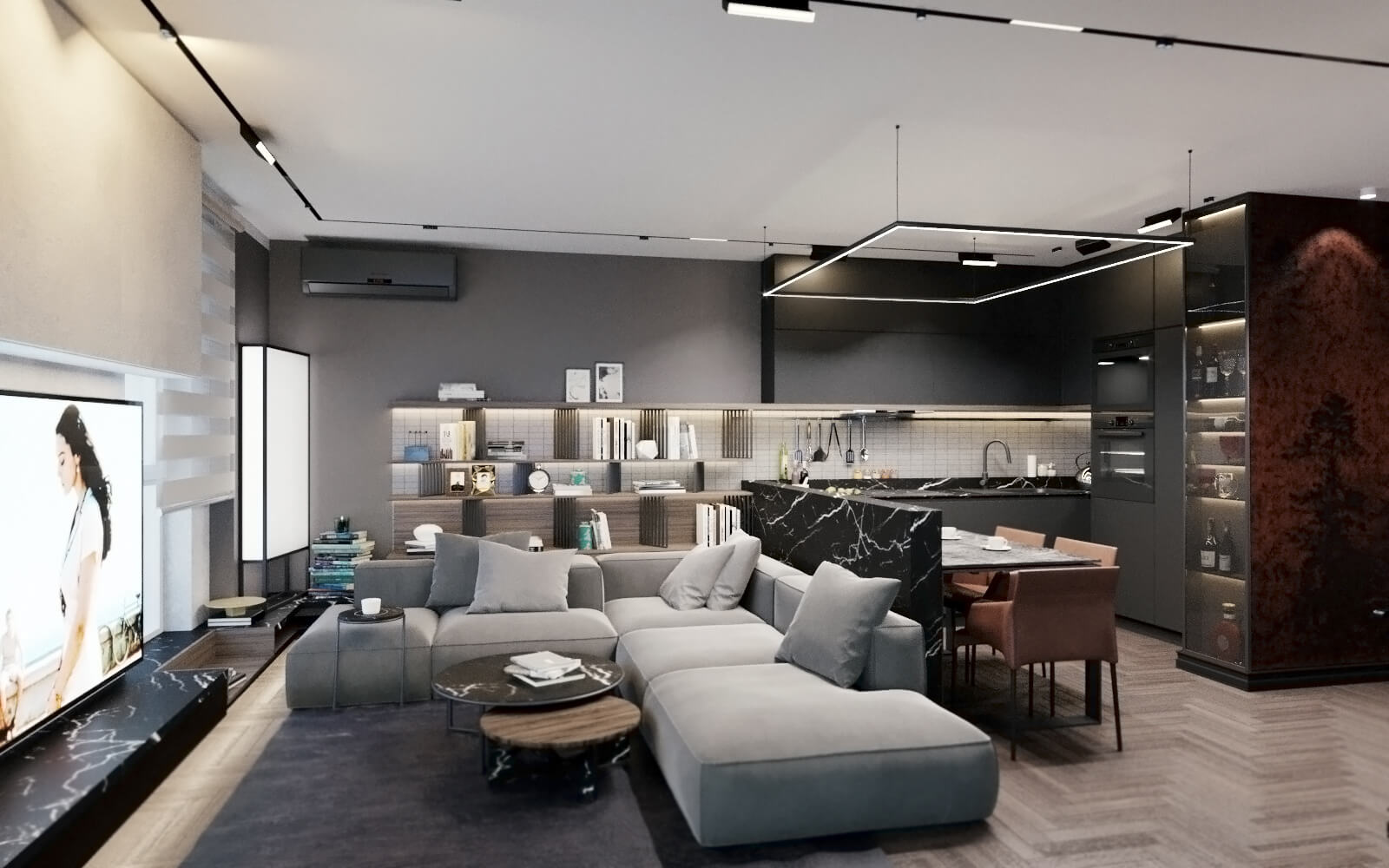 дизайн студии кухни и зала